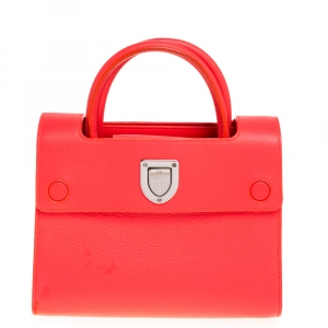 Dior Neon Orange Leather Mini Diorever Tote