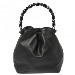 Dior Black Leather Beaded Top Handle Bag