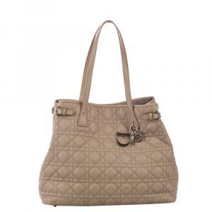 Dior Beige Cannage Leather Panarea Tote Bag
