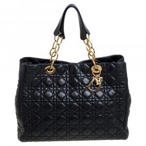 Dior Black Cannage Quilted Soft Leather Large Shopper Tote