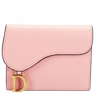Dior Pink Leather Saddle Wallet