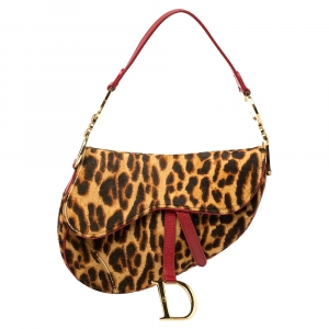 Dior Brown/Red Leopard Print Calfhair and Leather Saddle Bag
