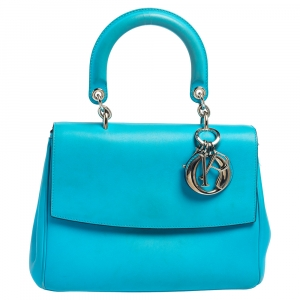 Dior Light Blue Leather Small Be Dior Flap Top Handle Bag