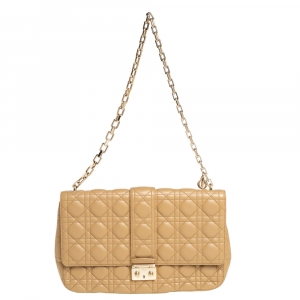 Dior Beige Cannage Leather Large Miss Dior Flap Bag