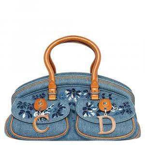 Christian Dior Blue Denim Vintage Floral Embroidered Bowler Bag