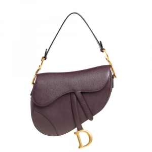 Dior Burgundy Leather Saddle Bag