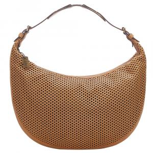 Dior Brown Perforated Leather Hobo Bag