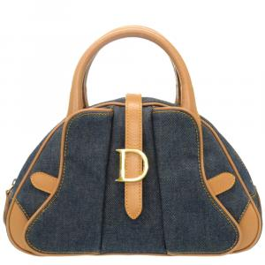 Dior Blue Denim Leather Top Handle Bag