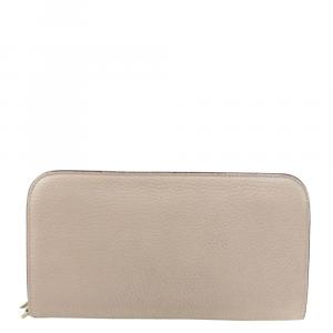 Dior Beige Leather Voyageur Continental Wallet