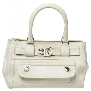 Dior White Leather Interlocking CD Logo Embellished Satchel