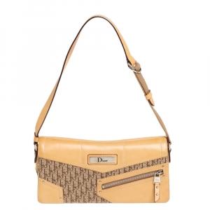 Dior Beige/Brown Oblique Canvas and Leather Zip Pocket Flap Baguette Bag