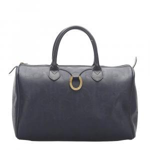 Dior Black Leather Canvas Boston Bags