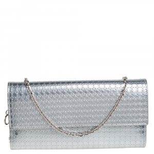 Dior Metallic Silver Microcannage Leather Croisiere Wallet On Chain