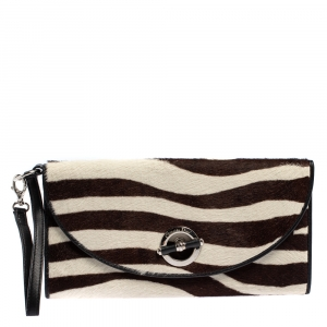 Dior Black/White Calf Hair and Leather Jazz Club Wristlet Clutch