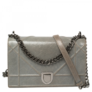Dior Grey Crackled Patent Leather Medium Diorama Shoulder Bag