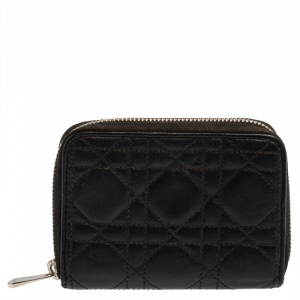 Dior Black Cannage Leather Compact Zip Around Wallet
