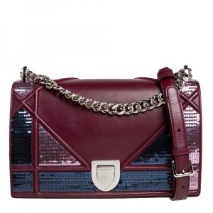 Dior Burgundy Leather and Sequins Medium Diorama Shoulder Bag