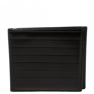 Dior Black Stripe Glazed Leather Trifold Compact Wallet