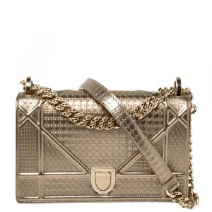 حقيبة كتف ديور ديوراما صغيرة جلد لامع كاناج مايكرو ذهبي ميتالك