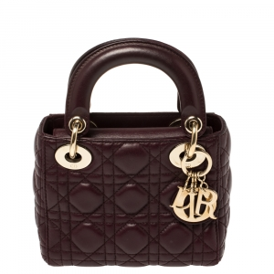 Dior Burgundy Cannage Leather Mini Chain Lady Dior Tote