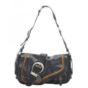 Dior Black Leather Gaucho Saddle Shoulder Bag