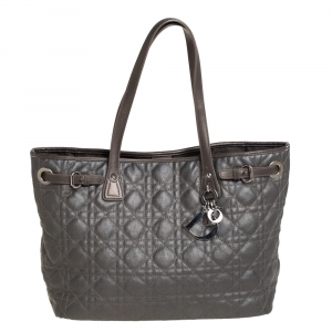 Dior Metallic Cannage Coated Canvas and Leather Small Panarea Tote