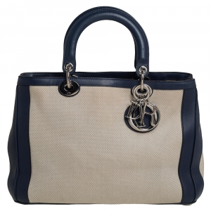 Dior Navy Blue/White Canvas and Leather Medium Diorissimo Shopper Tote