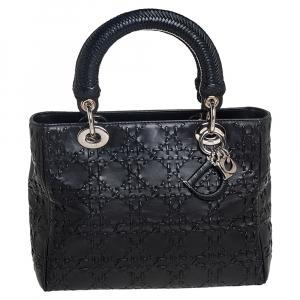 Dior Black Cannage Whipstitch Leather Medium Lady Dior Tote