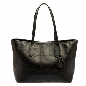 Dior Black Cannage Coated Canvas and Leather Small New Panarea Shopper Tote