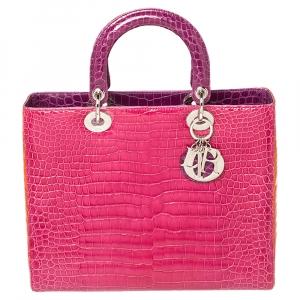حقيبة يد ديور ليدي ديور جلد تمساح كبيرة متعددة الألوان