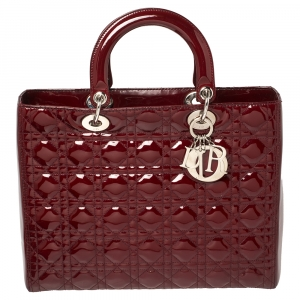 Dior Maroon Cannage Patent Leather Large Lady Dior Tote