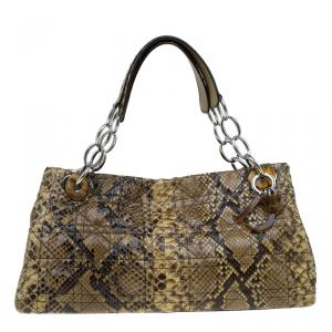 Dior Beige Cannage Python Limited Edition 025 Lady Dior Shopper Tote