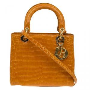 حقيبة ديور ليدي ديور إصدار محدود 022 جلد تمساح بني متوسطة