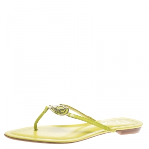 Dior Green Patent Leather Logo Detail Thong Flat Sandals Size 38.5 - used