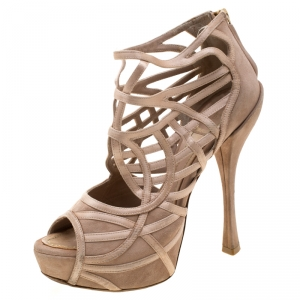 Dior Beige Satin And Suede Cut Out Open Toe Platform Sandals Size 37 - used