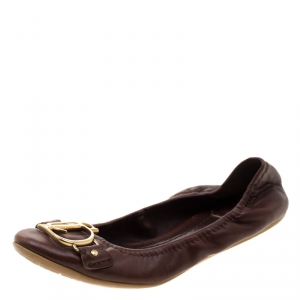 Dior Brown Leather Logo Scrunch Ballet Flats Size 35 - used
