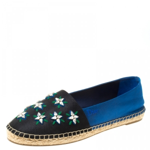 Dior Blue/Black Crystal Embellished Fabric Riviera Espadrille Loafers Size 37.5 - used