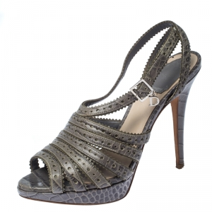 Dior Grey Croc Embossed Leather Bonnie Strappy Peep Toe Platform Sandals Size 38.5 - used