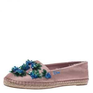 Dior Blush Pink Embellished Fabric Espadrilles Size 37 - used