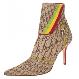 Dior Multicolor Monogram Canvas And Leather Piping Ankle Boots Size 40.5