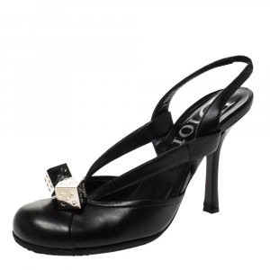 Dior Black Leather Dice Slingback Sandals Size 35 - used