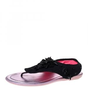 Dior Black Mesh Embellished Fusion Thong Flat Sandals Size 36 - used