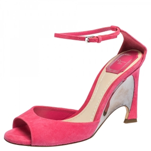 Dior Pink Suede Leather Optique Wedge Ankle Strap Sandals Size 39 - used