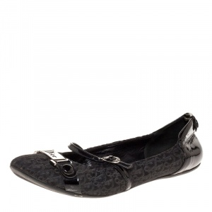 Dior Black Oblique Canvas and Patent Leather Mary Jane Scrunch Ballet Flats Size 38 - used
