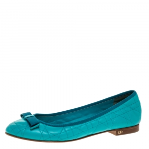Dior Turquoise Quilted Cannage Leather My Bow Ballet Flats Size 39 - used