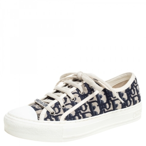 Dior Navy Blue Embroidered Cotton Oblique Motif Walk'n'Dior Low Top Sneakers Size 38