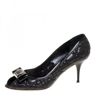 Dior Black Leather Cannage Bow Peep Toe Pumps Size 40