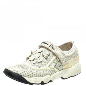 Dior White Mesh Fusion Flower Runway Sneakers Size 36