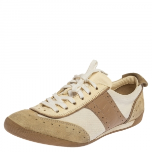 Dior Beige/White Brogue Suede, Leather and Canvas Low Top Sneakers Size 37.5