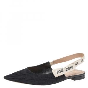 Dior Black Technical Canvas J'adior Slingback Sandals Size 38.5